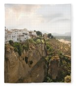 View Over The Tajo Gorge Ronda Home Of Bullfighting Fleece Blanket