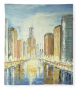 View Up The Chicago River Fleece Blanket