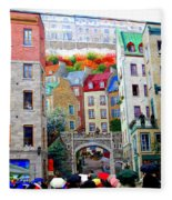 Viewing A Mural At La Fresque Des Quebecois Fleece Blanket