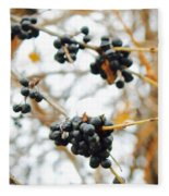 Vignettes - Indigo Winter Berries Fleece Blanket