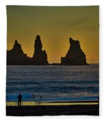 Vik Sea Stacks At Dusk - Iceland Fleece Blanket