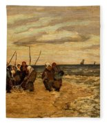 Viktor Ivanovich Zarubin Russian 1866  1928 Fisherwomen In Normandie Fleece Blanket