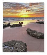 Gale Beach At Sunset. In Algarve Fleece Blanket