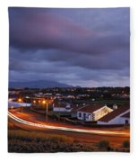 Village At Twilight Fleece Blanket