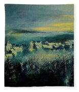 Village In A Misty Morning  Fleece Blanket