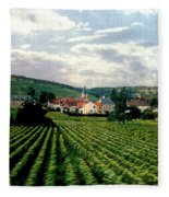 Village In The Vineyards Of France Fleece Blanket