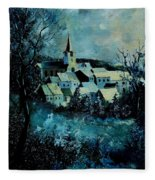 Village In Winter Fleece Blanket
