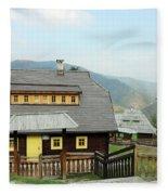 Village With Wooden Houses On Mountain Fleece Blanket