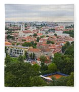 Vilnius Panorama From The Hill Of Three Crosses Fleece Blanket
