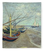 Vincent Van Gogh  Fishing Boats On The Beach At Les Saintes Maries De La Mer Fleece Blanket