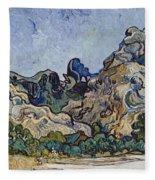 Vincent Van Gogh  Mountains At Saint Remy Fleece Blanket