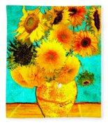 Vincent's Sunflowers 4 Fleece Blanket