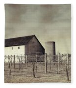 Vineyard In Winter Fleece Blanket