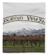 Vineyard Under Snow Fleece Blanket