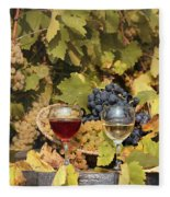 Vineyard With Red And White Wine Autumn Season Fleece Blanket