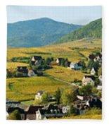 Vineyards In Autumn In The Morning Fleece Blanket