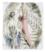 Vintage 1920s Fashion Plate  Evening Dresses Fleece Blanket