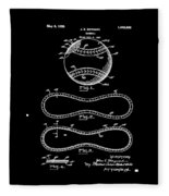 Vintage 1928 Baseball Patent Black Fleece Blanket