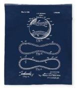 Vintage 1928 Baseball Patent Blue Fleece Blanket