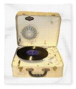 Vintage 1950s Record Player And Vinyl Record Fleece Blanket