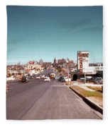 Vintage 1950s View Of Congress Avenue Looking North From South Congress To The Capitol Fleece Blanket