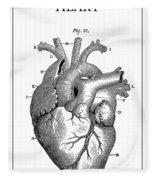Vintage Anatomical Heart Fleece Blanket