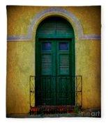 Vintage Arched Door Fleece Blanket