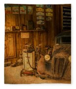 Vintage Auto Repair Garage With Truck And Signs Fleece Blanket