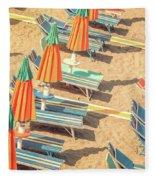 Vintage Beach Fleece Blanket