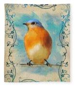 Vintage Bluebird With Flourishes Fleece Blanket