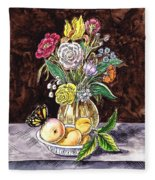 Vintage Bouquet With Fruits And Butterfly  Fleece Blanket