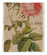 Vintage Burlap Floral 2 Fleece Blanket