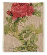 Vintage Burlap Floral Fleece Blanket