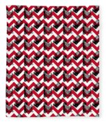 Vintage Camera Chevron Fleece Blanket