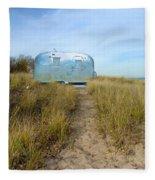 Vintage Camping Trailer Near The Sea Fleece Blanket