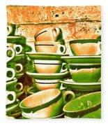 Vintage Cellar Tea Cups Painterly Fleece Blanket