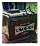 Vintage Champion Spark Plug Cleaner Fleece Blanket