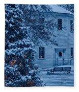 Vintage Christmas Church In Vermont Fleece Blanket