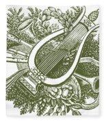 vintage Christmas poster musical instruments  Fleece Blanket
