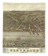 Vintage Cleveland Ohio Map Fleece Blanket