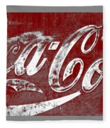 Coca Cola Red And White Sign Gray Border With Transparent Background Fleece Blanket