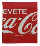 Vintage Coca Cola Sign Fleece Blanket