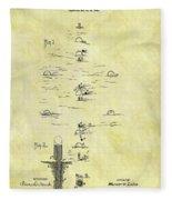 Vintage Croquet Patent Fleece Blanket