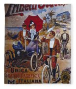 Vintage Cycle Poster Prinetti Stucchi Unica Grande Fabbrica Italiana Milano Fleece Blanket