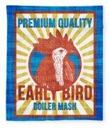 Vintage Early Bird Boiler Mash Feed Bag Fleece Blanket