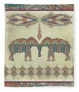 Vintage Elephants Kashmir Paisley Shawl Pattern Artwork Fleece Blanket