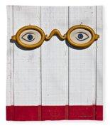 Vintage Eye Sign On Wooden Wall Fleece Blanket