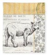 Vintage Farm 3 Fleece Blanket by Debbie DeWitt