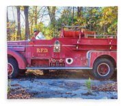 Vintage Fire Truck South Weare New Hampshire Fleece Blanket