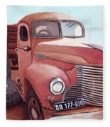 Vintage Fire Truck Watercolor Painting In A Local Scrapyard Fleece Blanket